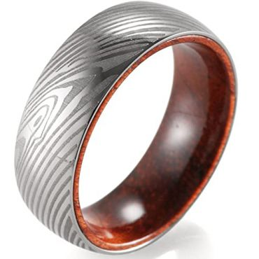 COI Tungsten Carbide Damascus Dome Court Ring With Wood-5474