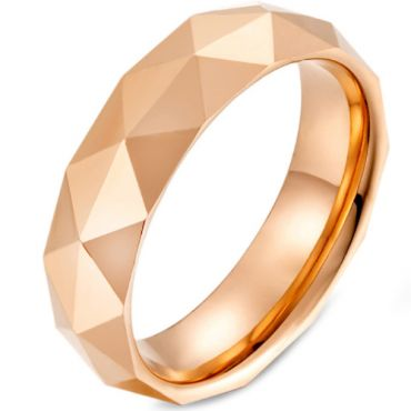 COI Tungsten Carbide Silver/Gold Tone/Rose Faceted Ring-5475