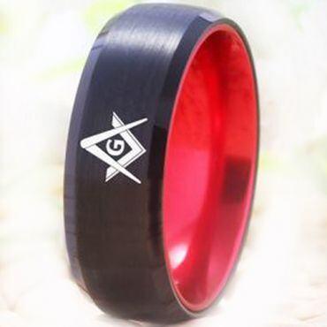 COI Tungsten Carbide Black Red Masonic Beveled Edges Ring-5477