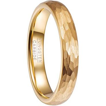 COI Gold Tone Tungsten Carbide Hammered Ring-5478