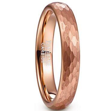 COI Rose Tungsten Carbide Hammered Ring-5479