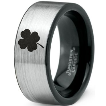 *COI Tungsten Carbide Black Silver Clover Pipe Cut Flat Ring-5480