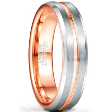 COI Tungsten Carbide Rose Silver Center Groove Ring-5484
