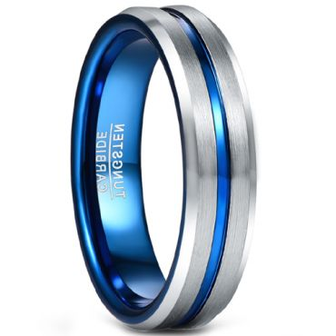 COI Tungsten Carbide Blue Silver Center Groove Ring-5490