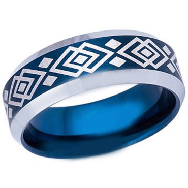 COI Tungsten Carbide Blue Silver Celtic Beveled Edges Ring-5491