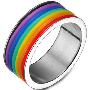 COI Titanium Black/Silver Rainbow Pride Pipe Cut Flat Ring-5503