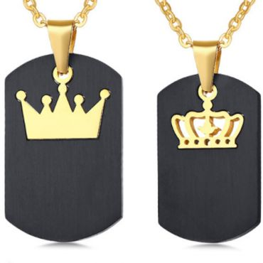 COI Titanium Black Gold Tone King Queen Crown Pendant-5520(Price for a set with 2)