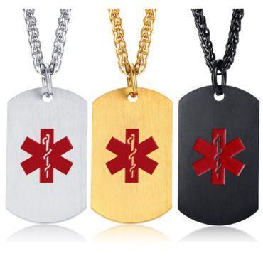 COI Titanium Silver/Gold Tone/Black Medic Alert Tag Pendant-5522