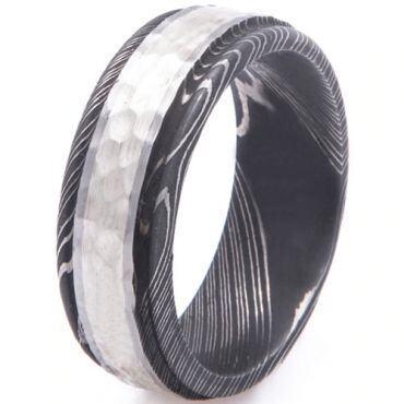 COI Tungsten Carbide Black Silver Hammered Damascus Ring-5530