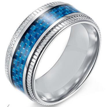 COI Titanium Black/Blue Carbon Fiber Step Edges Ring-5536