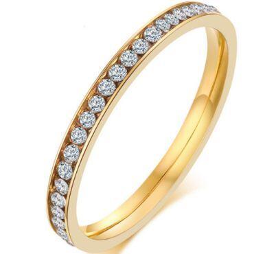 COI Gold Tone Titanium Ring With Cubic Zirconia-5542