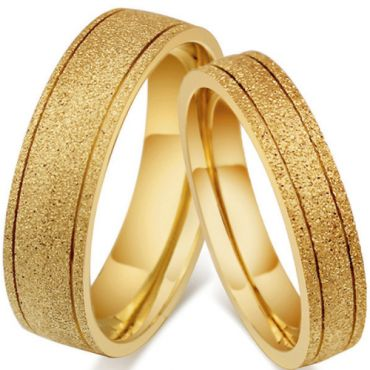 COI Gold Tone Titanium Sandblasted Double Grooves Ring-5545