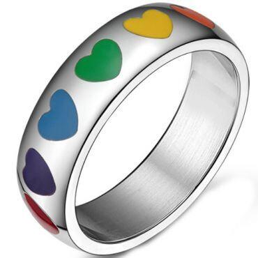 COI Titanium Rainbow Pride Hearts Dome Court Ring-5546