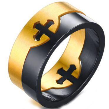 COI Titanium Black Gold Tone Cross Puzzle Ring-5563