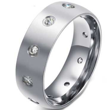 COI Titanium Dome Court Ring With Cubic Zirconia-5565