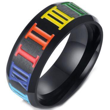 COI Black Titanium Rainbow Pride Beveled Edges Ring-5567