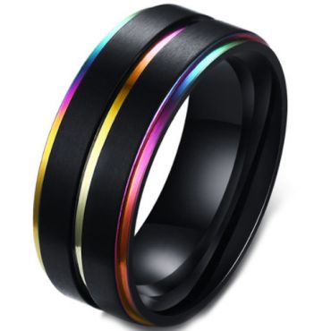 *COI Black Titanium Rainbow Pride Step Edges Ring-5572
