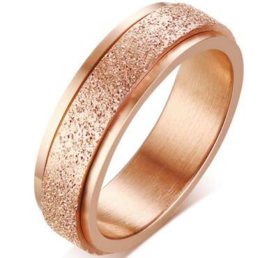 COI Titanium Blue/Rose/Gold Tone/Black/Rainbow Pride Sandblasted Step Edges Ring-5574