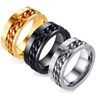 **COI Titanium Black/Gold Tone/Silver Chain Link Ring With Roman Numerals-5582
