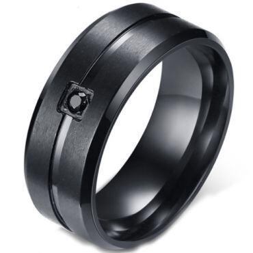 COI Black Titanium Center Groove Beveled Edges Ring With Cubic Zirconia-5583