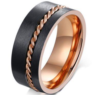 **COI Titanium Black Rose Offset Wire Pipe Cut Flat Ring-5584