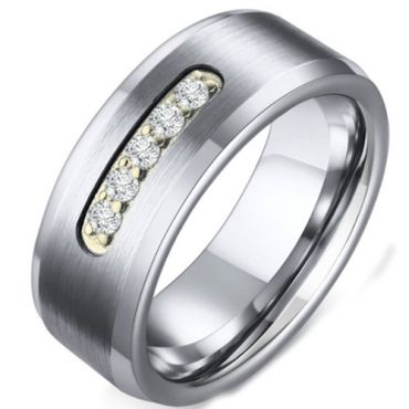 COI Tungsten Carbide Beveled Edges Ring With Cubic Zirconia-5586