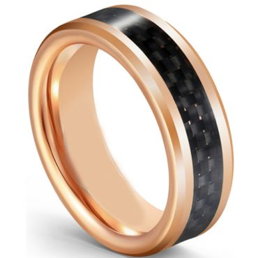 COI Rose Tungsten Carbide Beveled Edges Ring With Carbon Fiber-5595