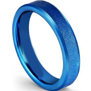 COI Blue Tungsten Carbide Sandblasted Beveled Edges Ring-5601
