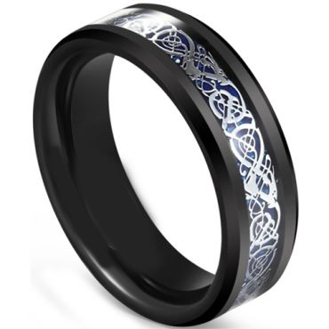 COI Tungsten Carbide Black Blue Dragon Beveled Edges Ring-5607