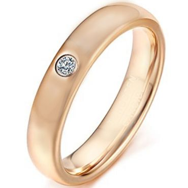 COI Rose Tungsten Carbide Dome Court Ring With Cubic Zirconia-5623
