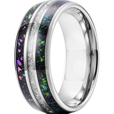 COI Tungsten Carbide Dome Court Ring With Meteorite and Opal-5626