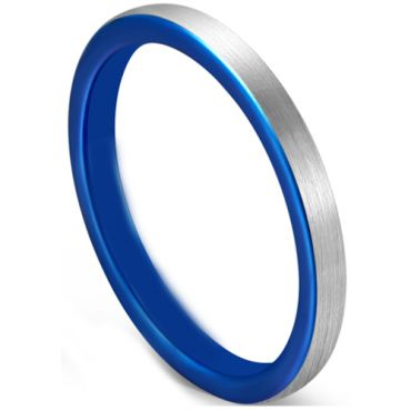 COI Tungsten Carbide Blue Silver Dome Court Ring-5628