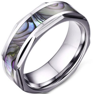 COI Tungsten Carbide Faceted Ring With Abalone Shell-5641