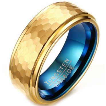 **COI Tungsten Carbide Gold Tone Blue Hammered Step Edges Ring-5642