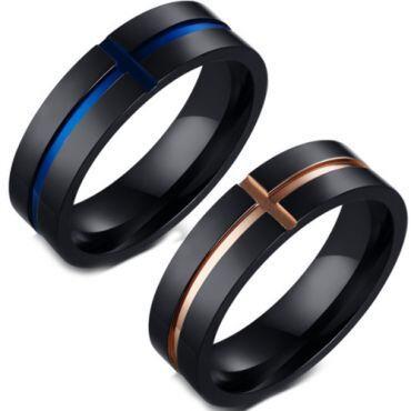 COI Titanium Black Rose/Blue Cross Pipe Cut Flat Ring-5644