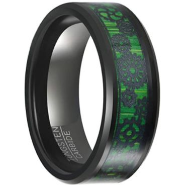 COI Black Tungsten Carbide Beveled Edges Ring With Wood-5649