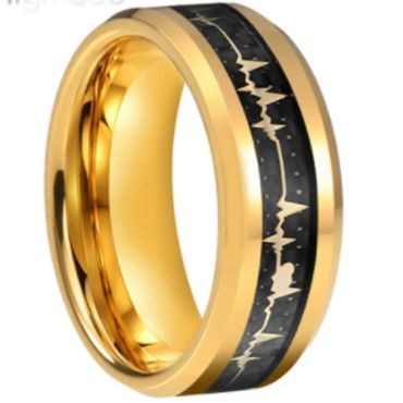 COI Gold Tone Tungsten Carbide Heartbeat Ring With Carbon Fiber-5660