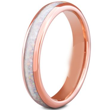 COI Rose Tungsten Carbide Crushed Opal Dome Court Ring-5668