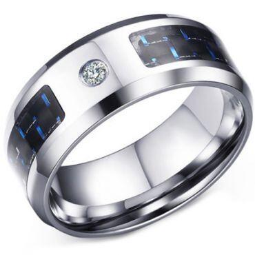 COI Titanium Beveled Edges Ring With Carbon Fiber and Cubic Zirconia-5687