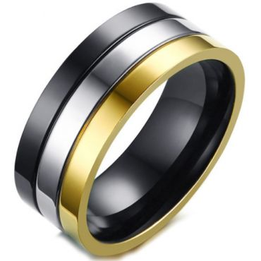 COI Titanium Black Silver Gold Tone Double Grooves Pipe Cut Flat Ring-5696