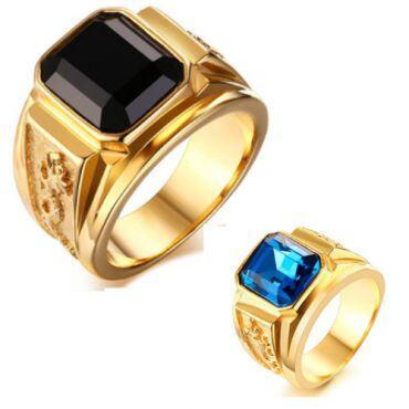 COI Gold Tone Titanium Ring With Created Blue Sapphire/Black Agate-5707