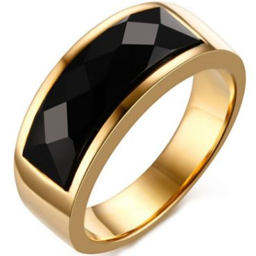COI Gold Tone Titanium Ring With Black Agate-5708