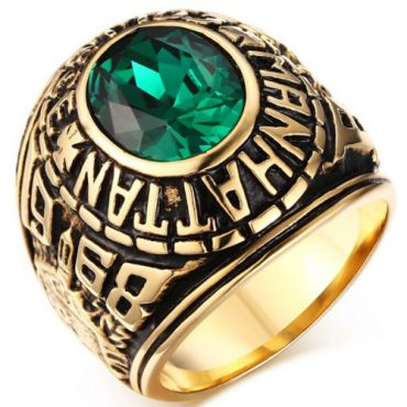 COI Gold Tone Titanium Ring With Created Green Emerald-5709