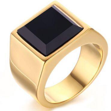 COI Gold Tone Titanium Ring With Black Agate-5712