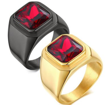 COI Black/Gold Tone Titanium Ring With Created Red Ruby-5714
