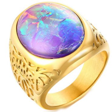 COI Gold Titanium Ring With Crushed Opal-5721