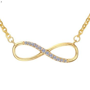 COI Gold Tone Titanium Infinity Necklace With Cubic Zirconia-5745(Length:50cm)
