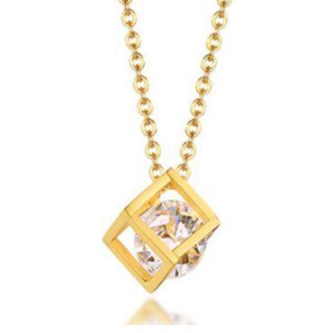 COI Gold Tone Titanium Pendant With Cubic Zirconia-5748