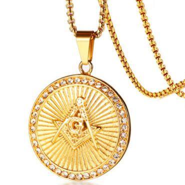 COI Gold Tone Titanium Masonic Pendant With Cubic Zirconia-5755