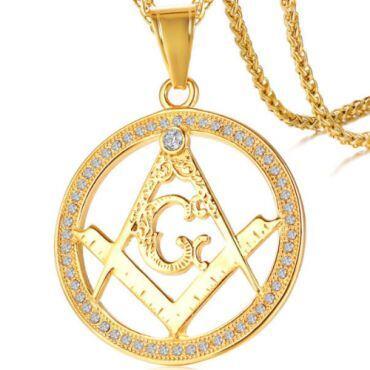 COI Gold Tone Titanium Masonic Pendant With Cubic Zirconia-5758